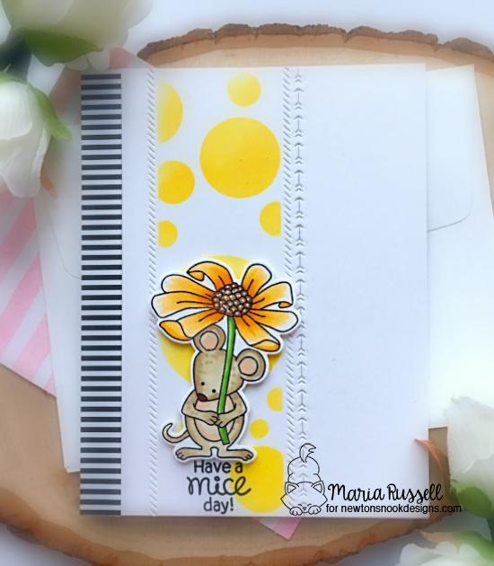 Mouse Card by Maria Russell | Garden Mice Stamp Set and Bokeh Stencil Set by Newton's Nook Designs #newtonsnook #handmade