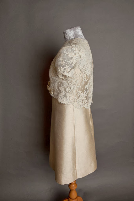1960s Cardin style vintage wedding dress, side view showing lace top, c HVB vintage wedding blog 2013