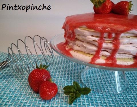 tarta de crepes con crema con fresas y queso, pettit suise sin gluten