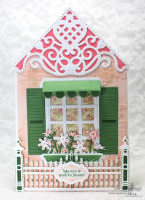 Our Daily Bread Designs,  Home Sweet Home, Decorative Corners Dies, Gilded Gate Die, Flower Box Fillers Die, Window Shutter and Awnings Die, Wecoming Window Dies, Antique Labels and Border Dies, Blushing Rose Paper Collection, Designed by Paula Bigelow