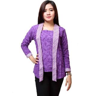 Contoh Batik Kerja Modern Lengan Panjang