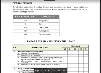 Contoh Penilaian Kinerja Tenaga Kependidikan PAUD/ TK/ RA/ KB/ TPA 2017