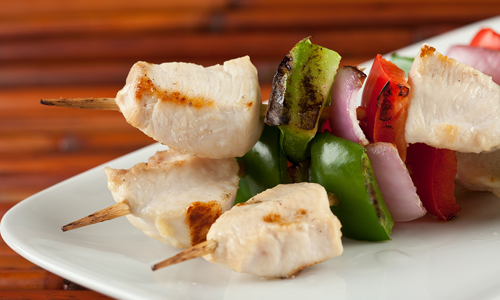 Cooking with chicken - chicken kabobs from the grill.