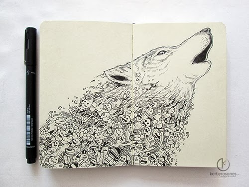 13-Wolf-Cry-Filippino-Artist-and-Illustrator-Kerby-Rosanes-Pen-Doodles-www-designstack-co