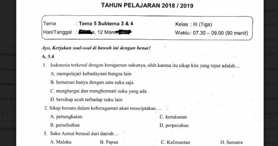 Soal Ulangan Kelas 3 Tema 5 Subtema 3 Dan 4 Sekolahdasar Net
