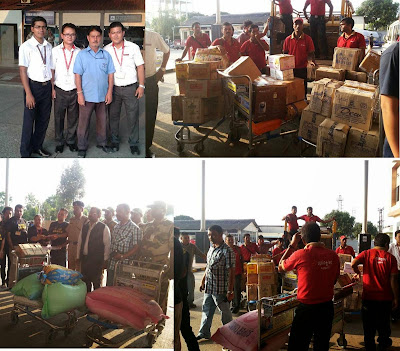Bagdogra Airport Staff team handed over quake relief materials to WHO CARES