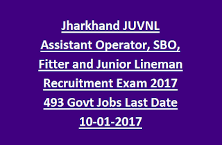 Jharkhand JUVNL Assistant Operator, SBO, Fitter and Junior Lineman Recruitment Exam 2017 493 Govt Jobs Last Date 10-01-2017