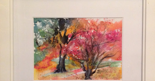 October 2016 Watercolour of Autumn Trees at Bute Park, Cardiff