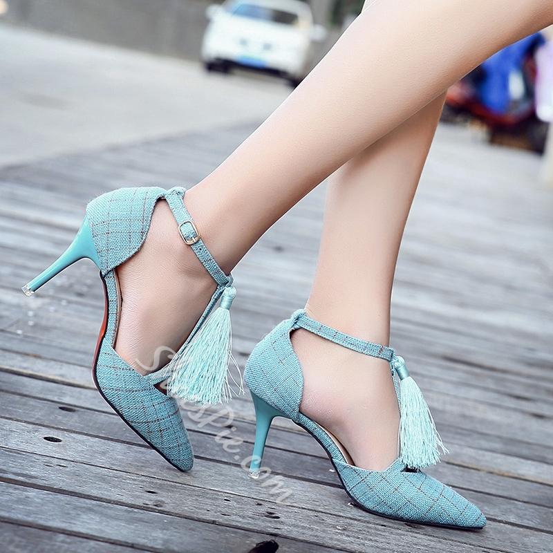 Shoespie Pointed Toe Fringe T-Shaped Buckle Stiletto Heel