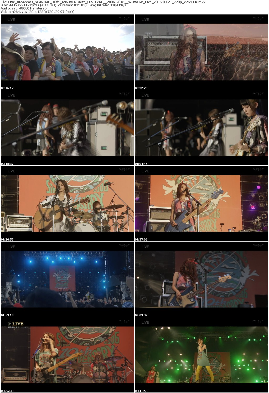 [TV-Variety] SCANDAL 10th ANNIVERSARY FESTIVAL「2006-2016」 (2016.08.21/MKV/4.13GB)