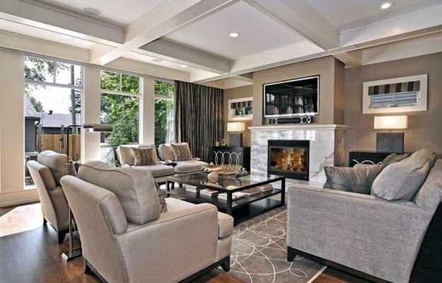 Attractive Living Room Furniture Arrangement With Fireplace