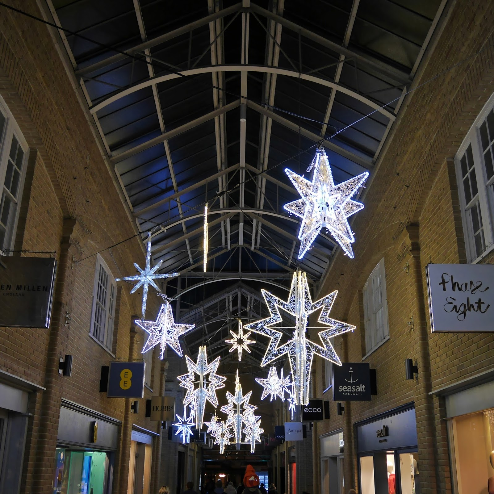 Close up of the Marlowe Arcade Christmas lights, Canterbury