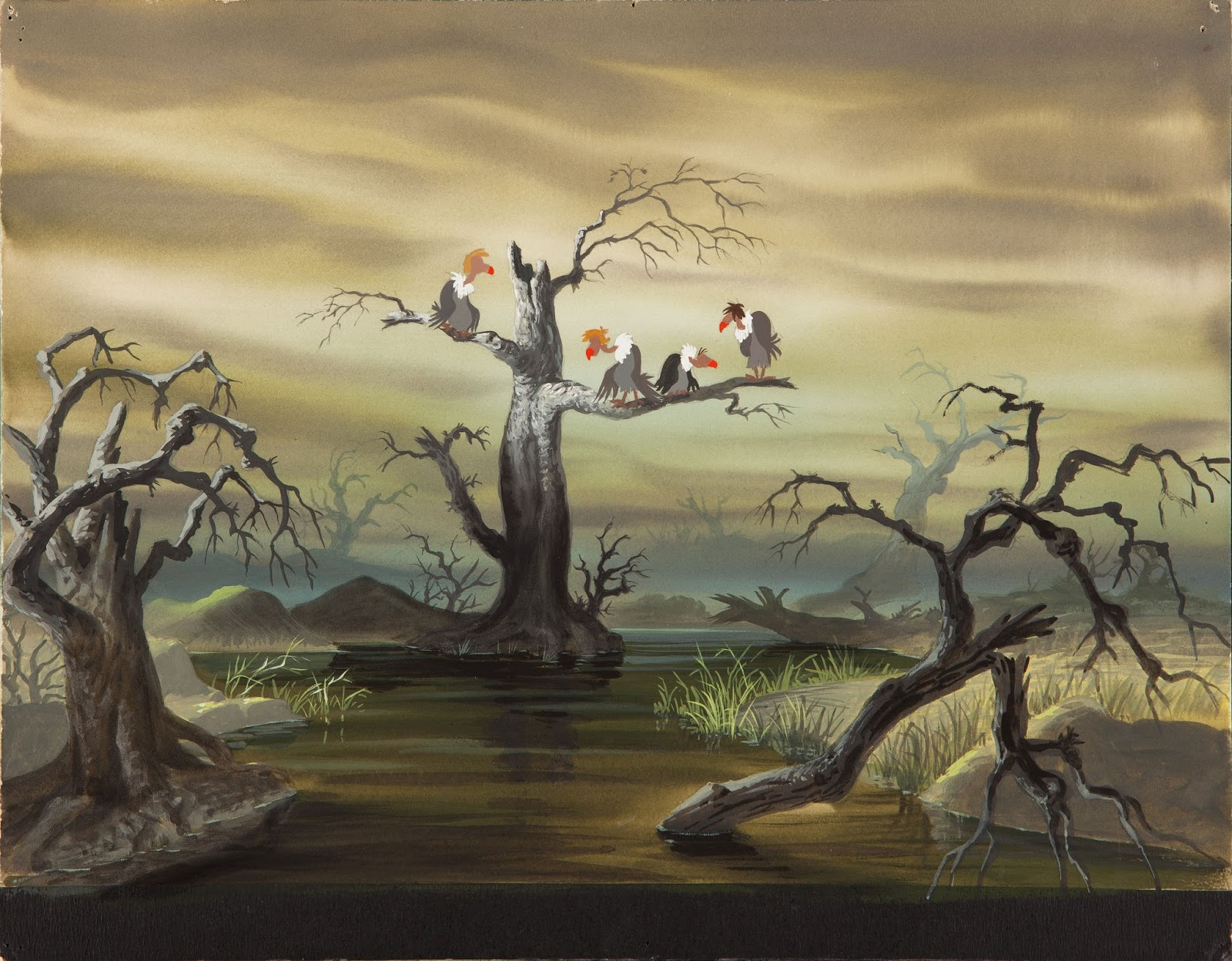 Uncategorized Jungle Book Vultures deja view jungle vultures i am not sure who painted this color key for the opening of sequence book but dark mood beautifully represents mowglis