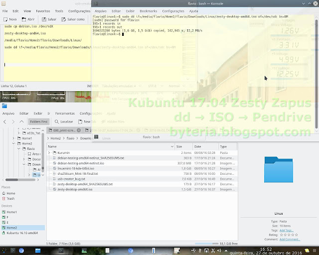 "Gravação do Kubuntu 17.04 Zesty Zapus (daily-build) no Pendrive, por comando ""dd"""