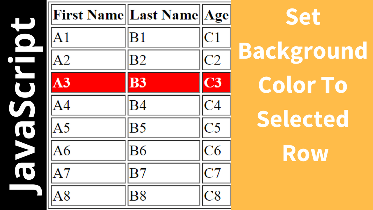 Javascript change selected html table row background color c java php programming source - Html code to create a table ...