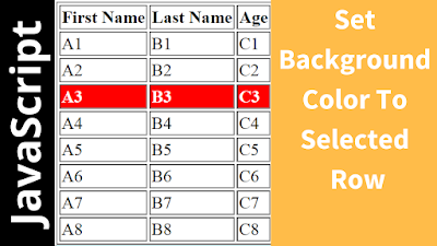 set Background Color to selected html table row
