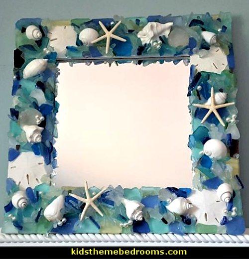 Sea Glass Mirror  Beach Decor Seashell Mirror, Nautical Decor Beach Glass Mirror, Coastal Decor Shell Mirror, Sea Glass Decor Wall Mirror