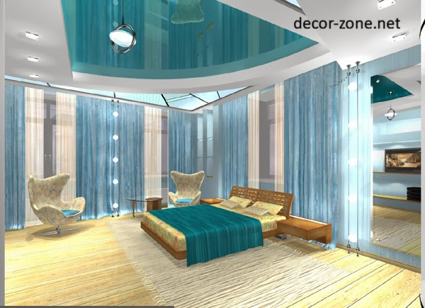 turquoise false ceiling designs for bedroom with ceiling lights