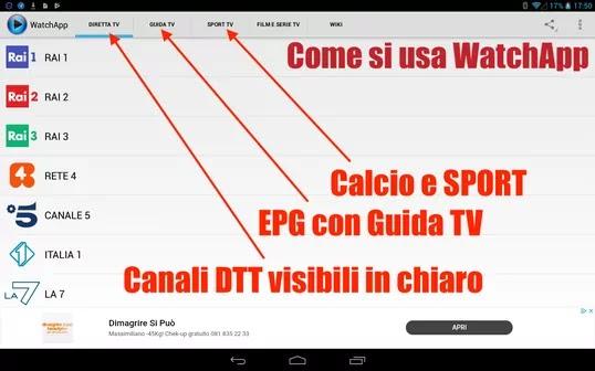 schermata principale di watchapp tv android