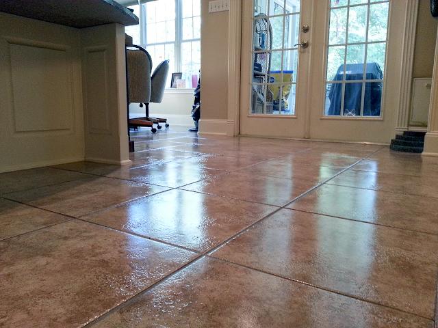 A kitchen tile scrub and wax job