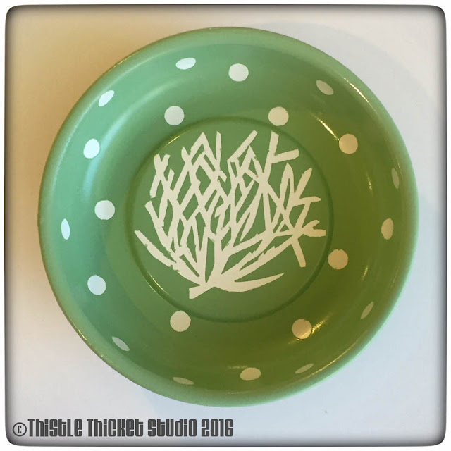 Thistle Thicket Studio, pin bowl, custom logo pin bowl