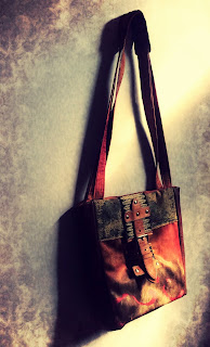 Brown Leather and Fabric Bag full detail