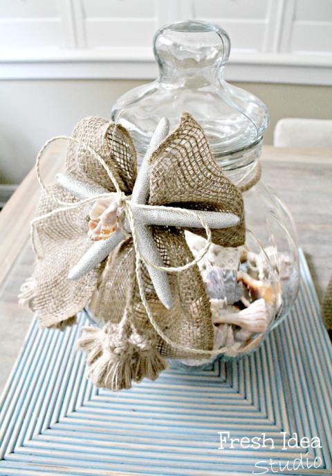 memory jar with burlap ribbon