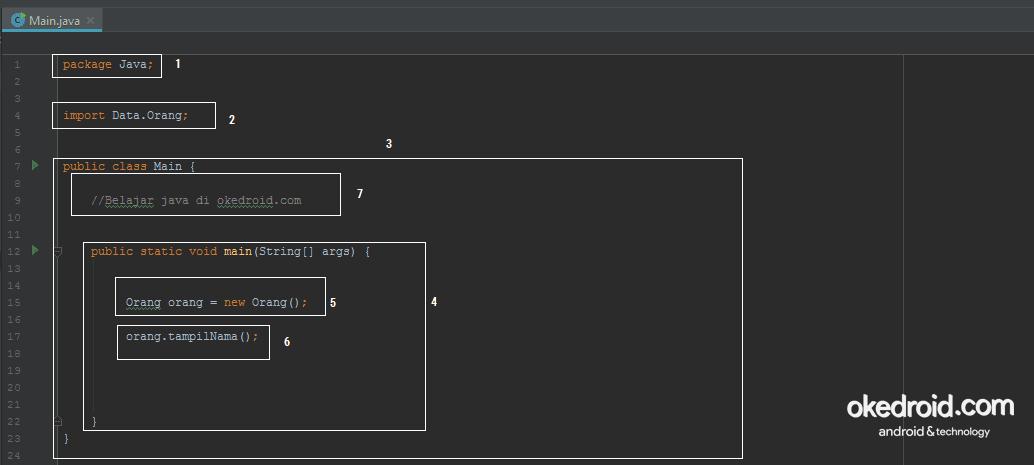 Contoh Penjelasan Baris Coding Code Program Java Contoh Struktur Code Java