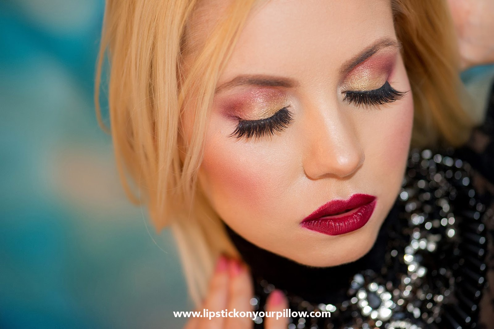 Fashion Beauty Blog Names: Night Out GLAM Gold & Cranberry Makeup Look