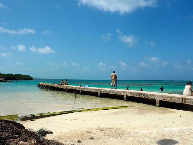 Pier on the shore of Caye Caulker, Belize