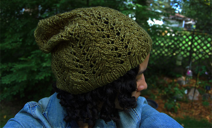 Hand knit hat with hand dyed yarn