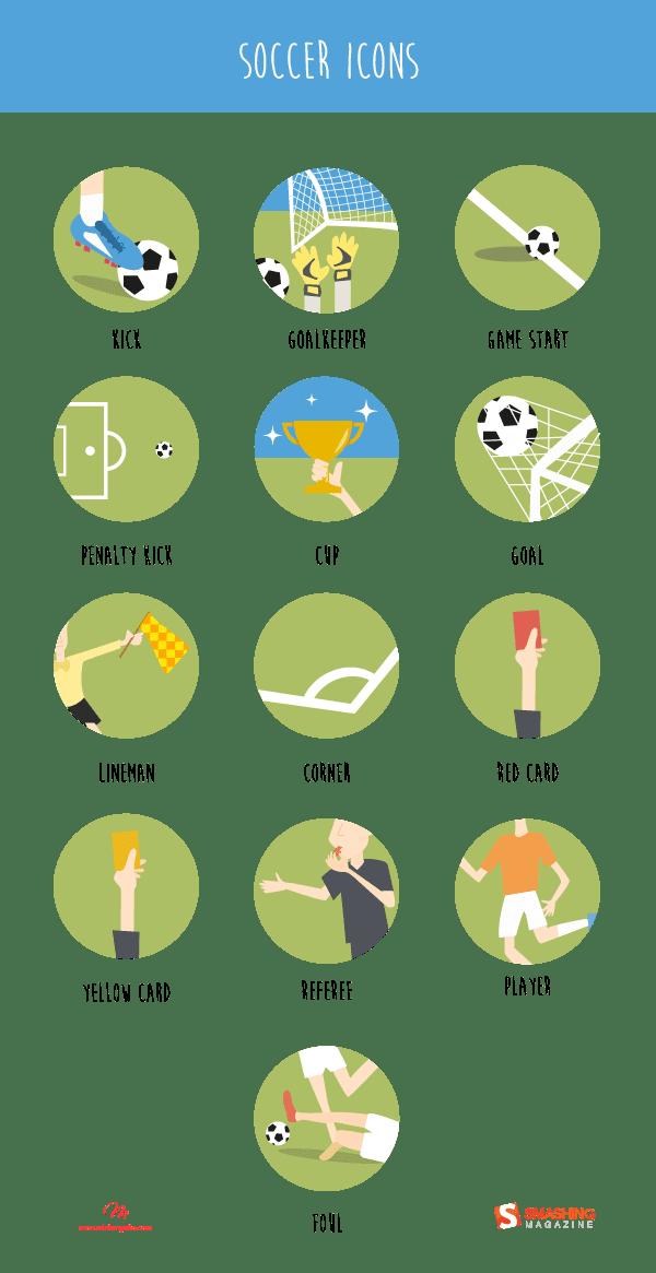 Футбольные иконки (13 Icons AI, EPS, SVG, PNG)