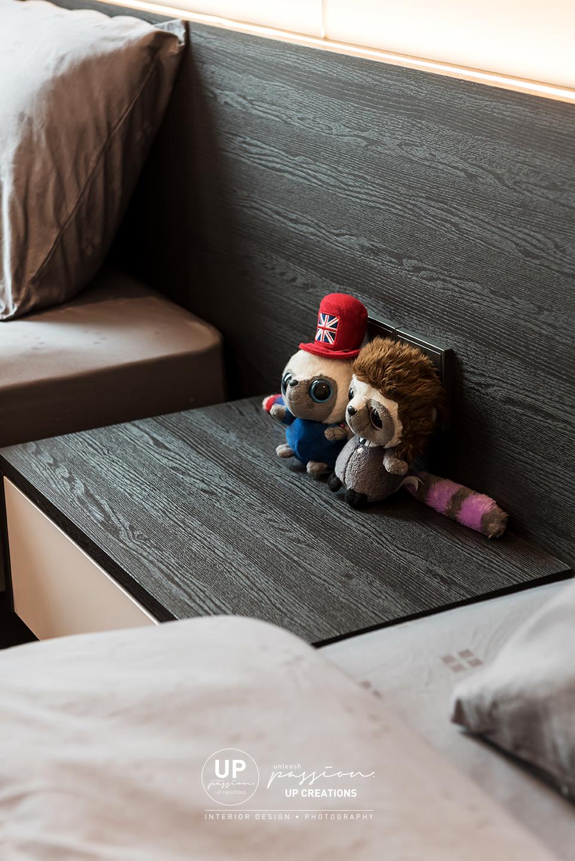 trinity aquata condo guest room side table in dark brown wood grain laminate finish
