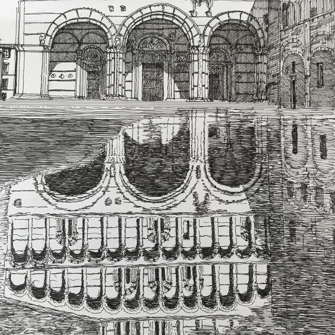 03-Lucca-Cathedral-Reflection-Francesco-Messina-Urban-Sketches-and-Architectural-Drawings-from-Italy-www-designstack-co