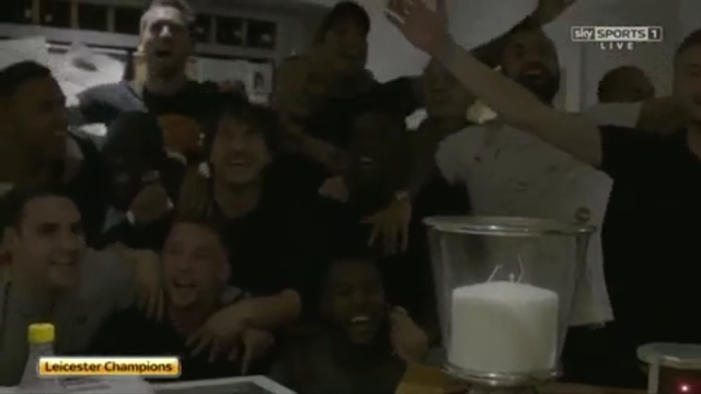 Leicester city players celebrating premier league title at Jamie Vardy's house