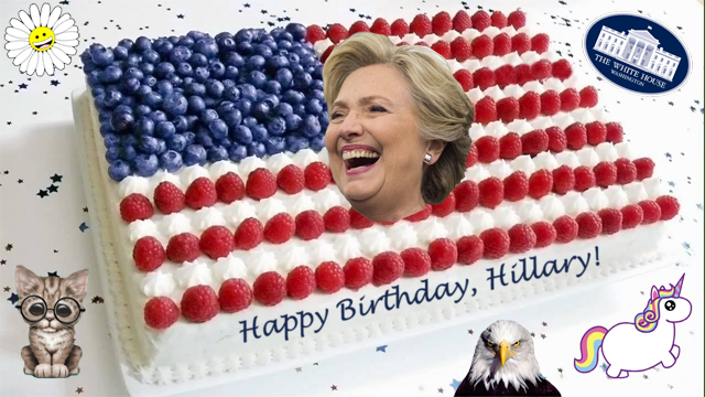 image of a US flag cake with Hillary Clinton's smiling face in the center, surrounded by a White House seal, a unicorn, an American bald eagle, a kitten wearing glasses, and a smiling daisy