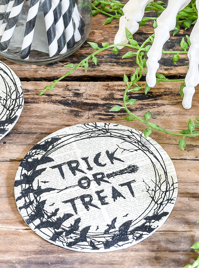 Easy decoupaged Dollar Tree Halloween coasters