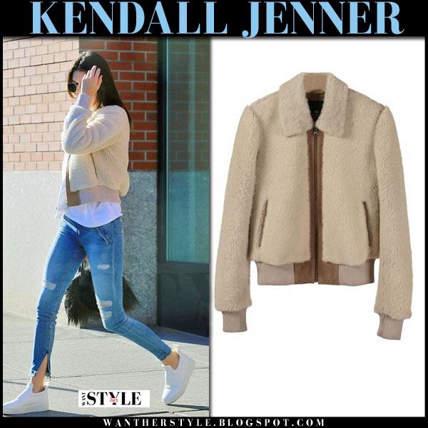 Kendall Jenner in beige bomber jacket, ripped jeans and white celine sneakers what she wore