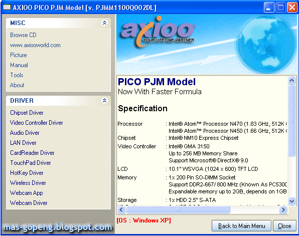 Driver wifi axioo pico m1110 pjm windows xp. Pdf google drive.