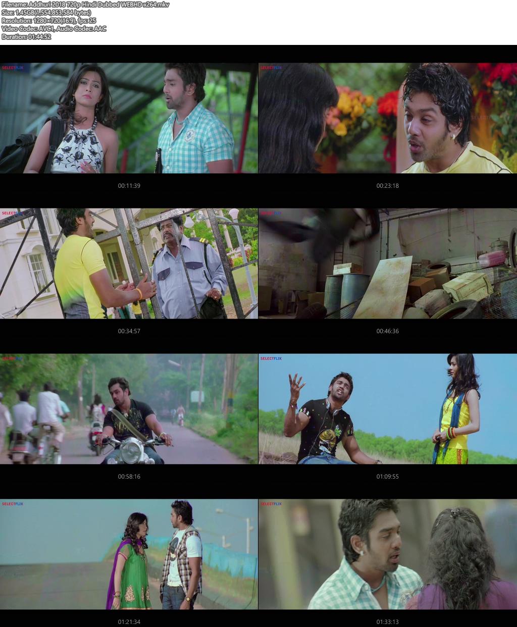Addhuri 2018 720p Hindi Dubbed WEBHD x264 | 480p 300MB | 100MB HEVC Screenshot