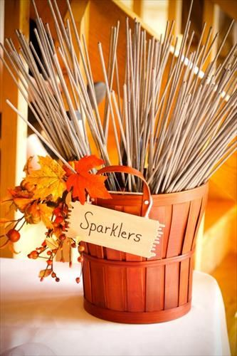 fall wedding sparklers