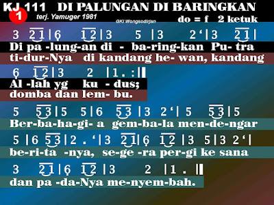Lirik dan Not Kidung Jemaat 111 Di Palungan Dibaringkan