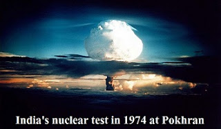India's nuclear test in 1974 at pokhran