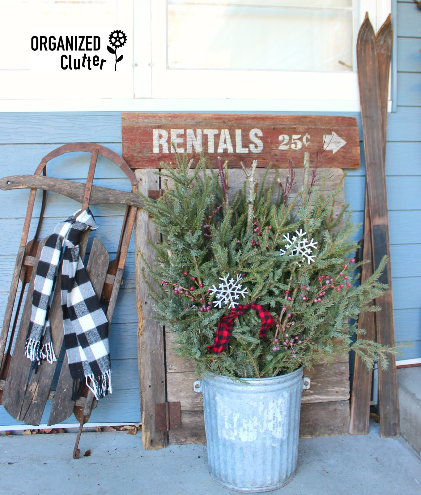 A Rustic Ski Themed Winter Christmas Outdoor Vignette
