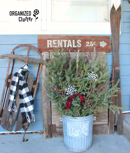 Rustic Christmas Vignette with Spruce Tip Bucket organizedclutter.net