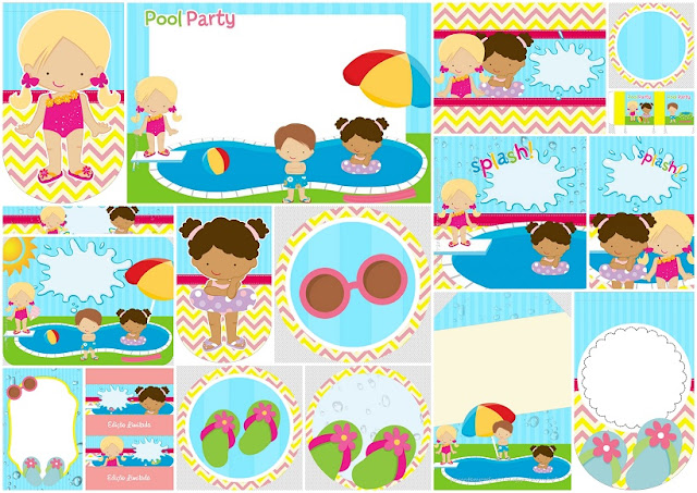 Girls at the Pool: Free Printable Kit.