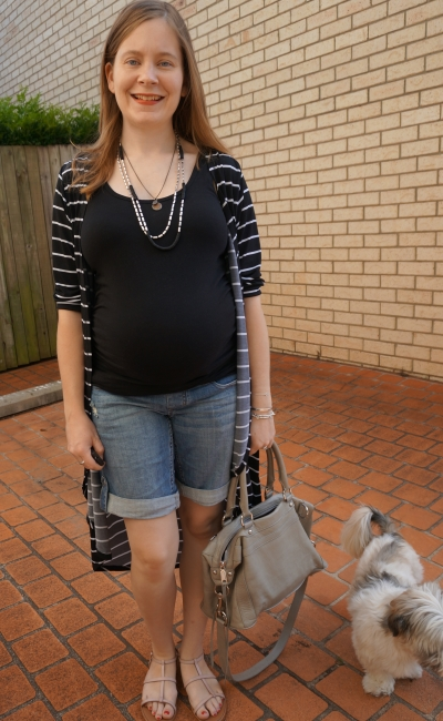 Away From Blue | Jeanswest Maternity tank shorts summer outfit black maxi cardi