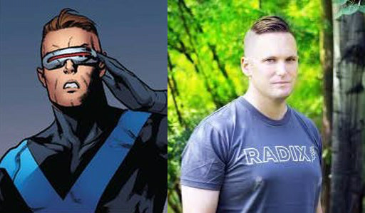 REALISTIC SUPERHERO MADE RIDICULOUS BY BEING GIVEN ABSURD COMIC CHARACTER'S HAIRCUT