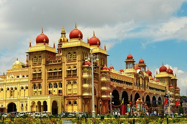 A side view of the Mysore Palace in Karnataka