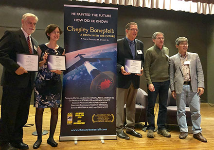 Documentary team receives AIAA award following screening of Chesley Bonestell: A brush with the future